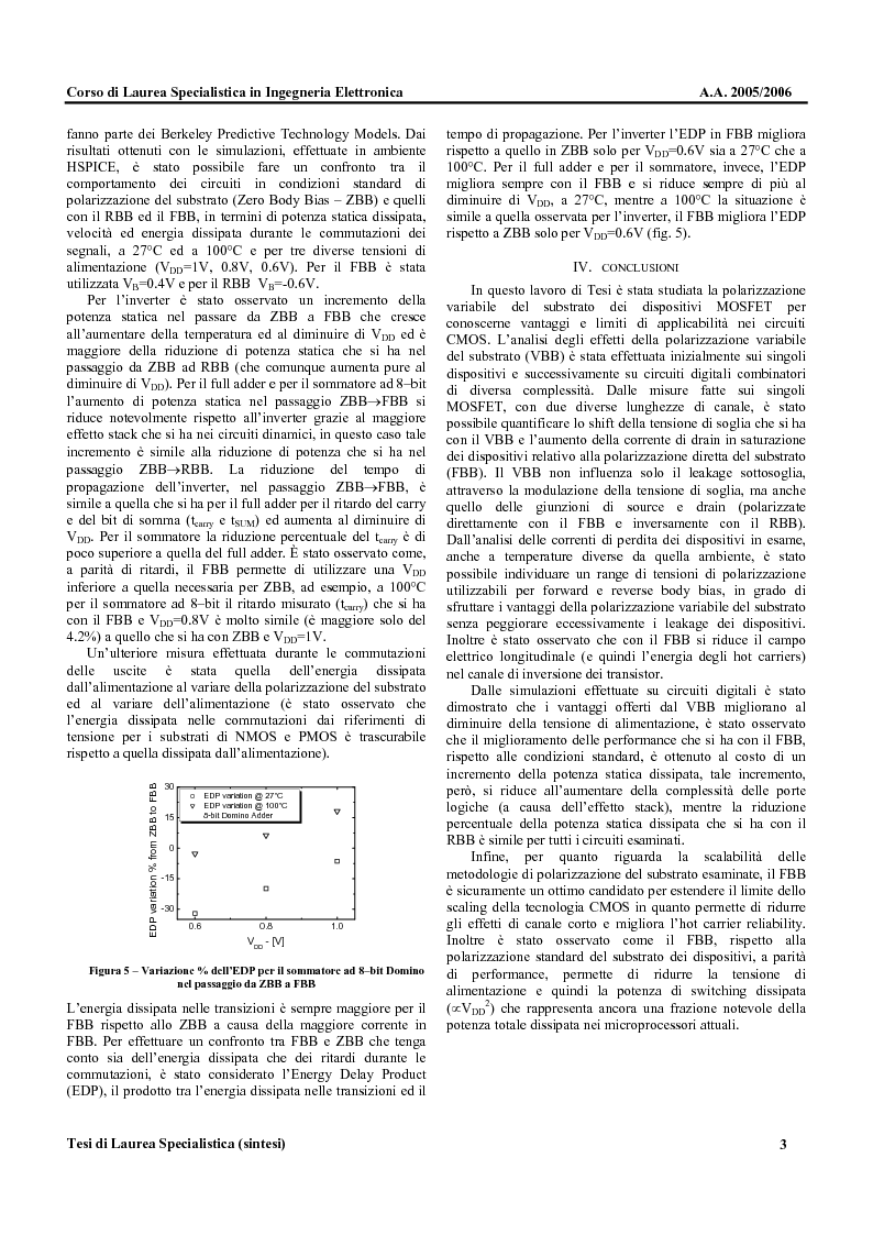 Anteprima della tesi: Metodologie di Polarizzazione del Substrato di Dispositivi CMOS per la Riduzione del Ritardo e della Potenza Dissipata, Pagina 3