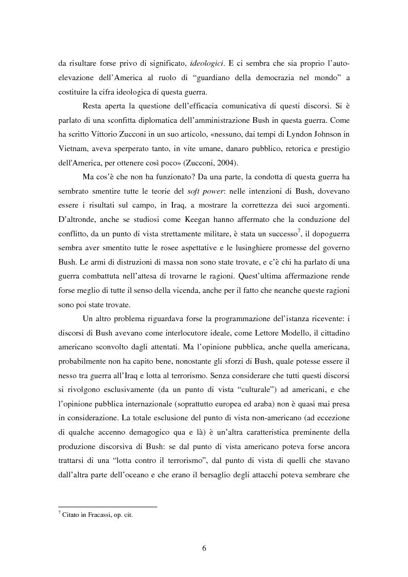 Anteprima della tesi: Come si racconta una guerra. Analisi semiotica dei discorsi di George W. Bush durante la guerra in Iraq., Pagina 6