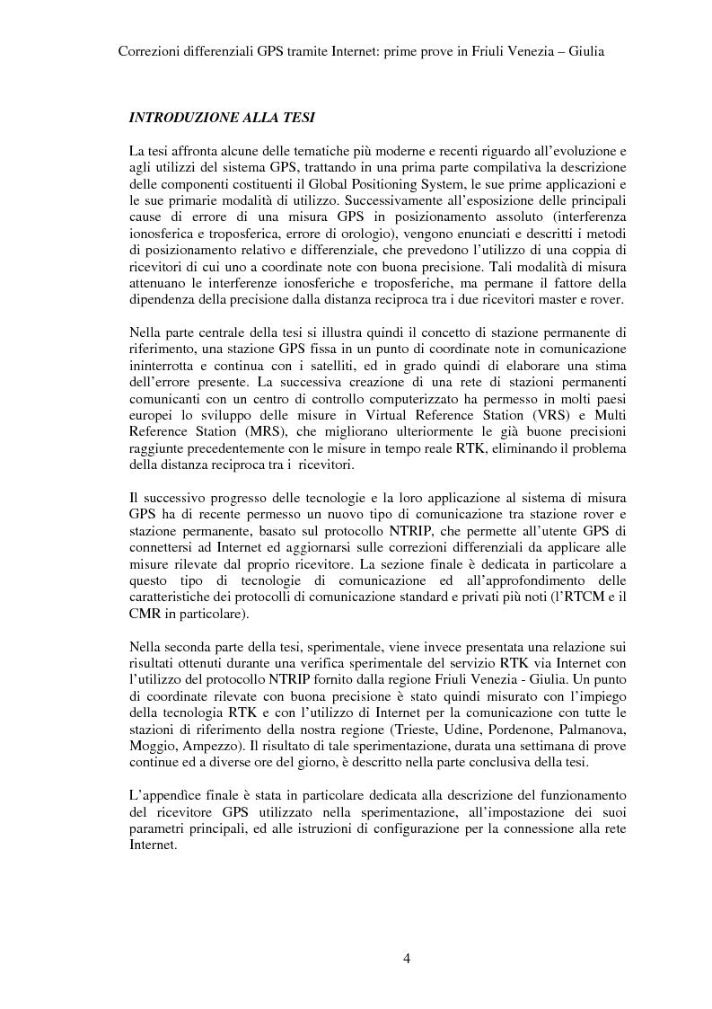 Anteprima della tesi: Correzioni GPS differenziali tramite internet, prime prove in Friuli Venezia Giulia, Pagina 1