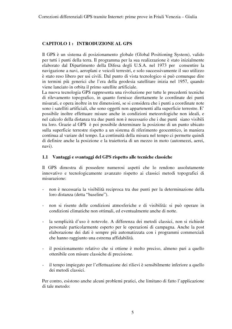 Anteprima della tesi: Correzioni GPS differenziali tramite internet, prime prove in Friuli Venezia Giulia, Pagina 2