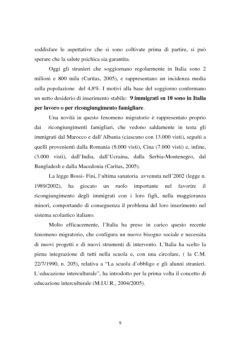Anteprima della tesi: L'integrazione dei ragazzi stranieri a scuola: dalla multiculturalità all'interculturalità, Pagina 6