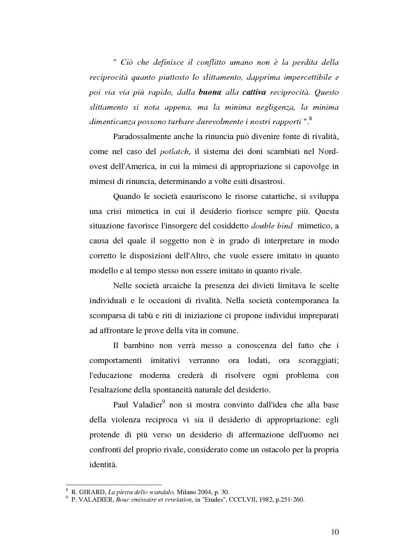 Anteprima della tesi: René Girard e la storia delle religioni: mimetismo e meccanismo vittimario, Pagina 10