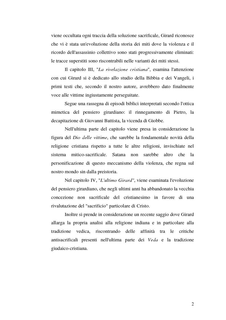 Anteprima della tesi: René Girard e la storia delle religioni: mimetismo e meccanismo vittimario, Pagina 2