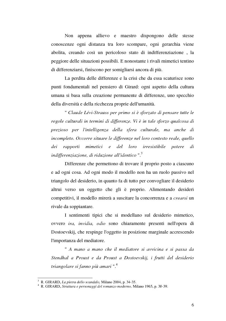 Anteprima della tesi: René Girard e la storia delle religioni: mimetismo e meccanismo vittimario, Pagina 6