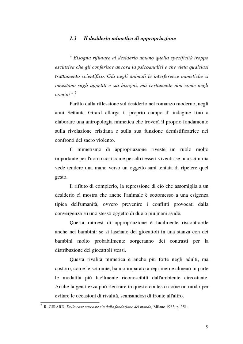 Anteprima della tesi: René Girard e la storia delle religioni: mimetismo e meccanismo vittimario, Pagina 9