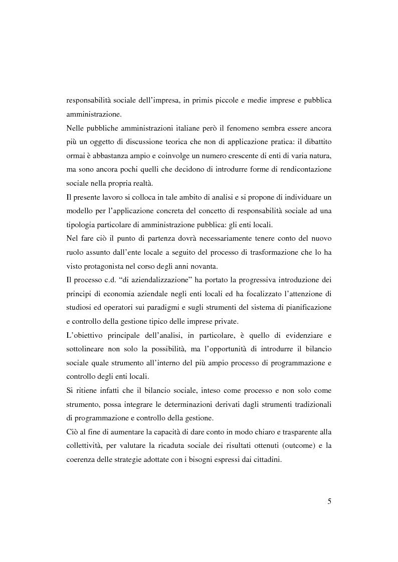 Anteprima della tesi: Bilancio sociale e sistemi di programmazione e controllo negli enti locali, Pagina 2