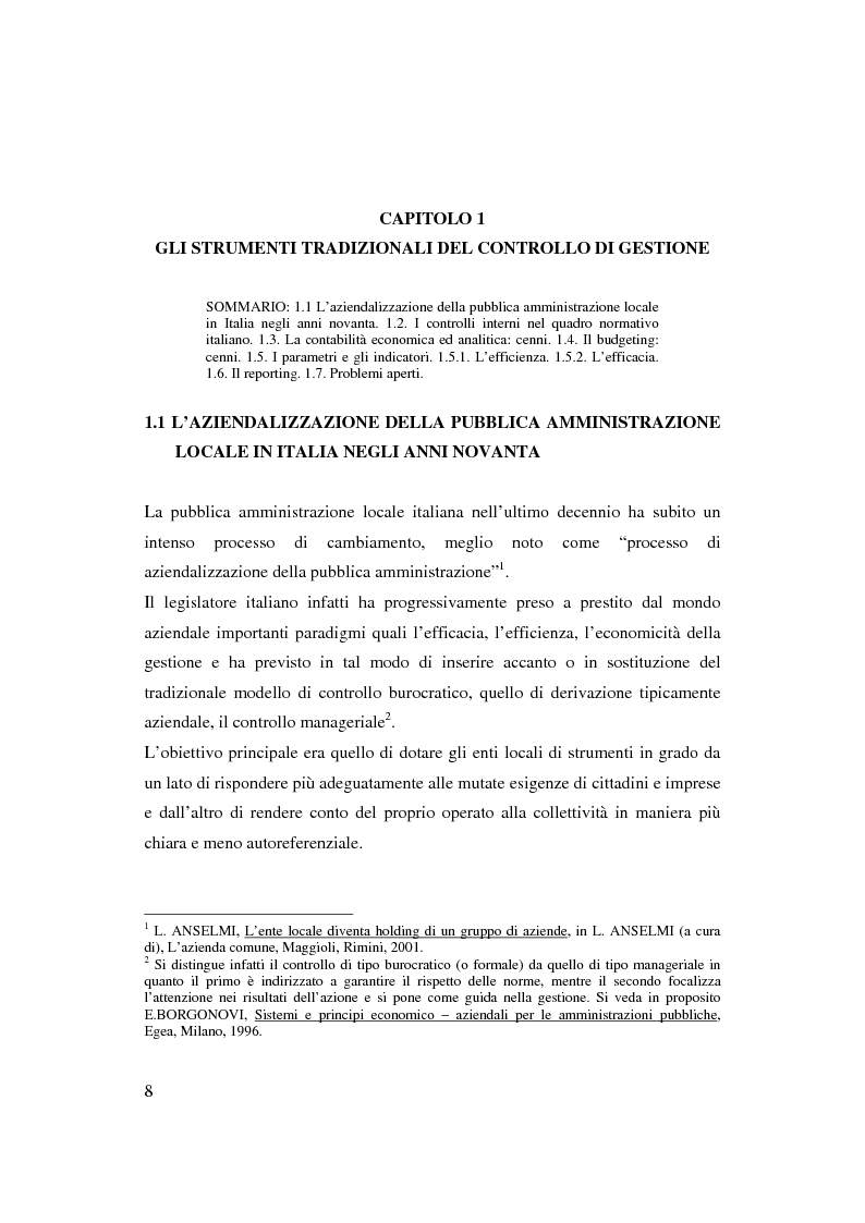 Anteprima della tesi: Bilancio sociale e sistemi di programmazione e controllo negli enti locali, Pagina 5