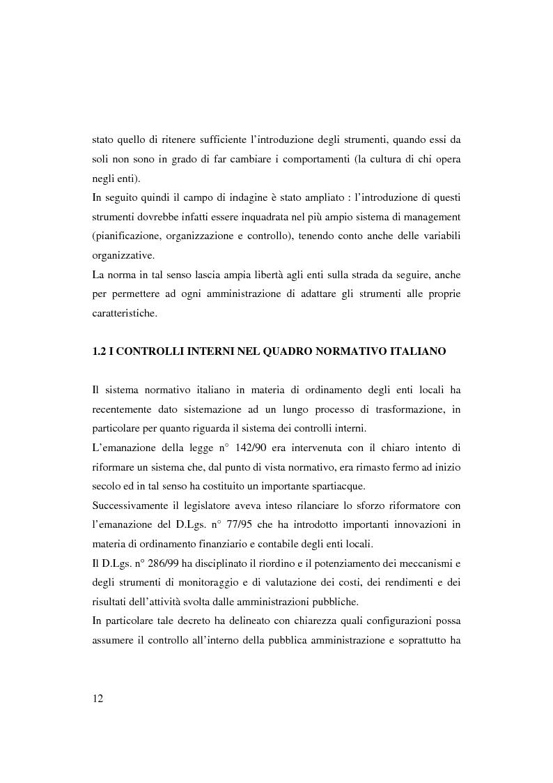 Anteprima della tesi: Bilancio sociale e sistemi di programmazione e controllo negli enti locali, Pagina 9
