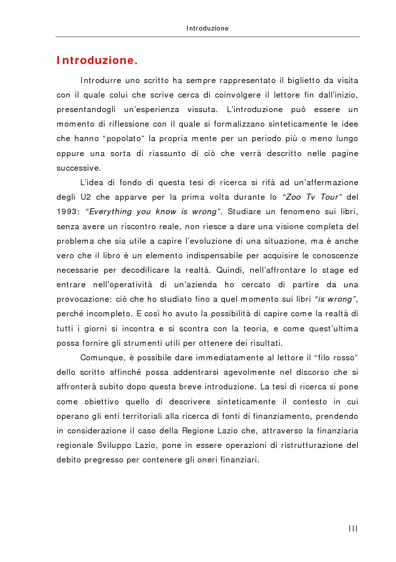 Anteprima della tesi: La gestione e la ristrutturazione del debito nella Regione Lazio, Pagina 1