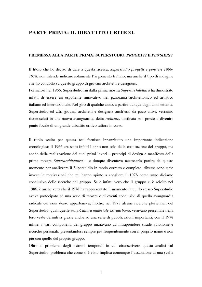 Anteprima della tesi: Superstudio - Progetti e pensieri 1966-1978, Pagina 1