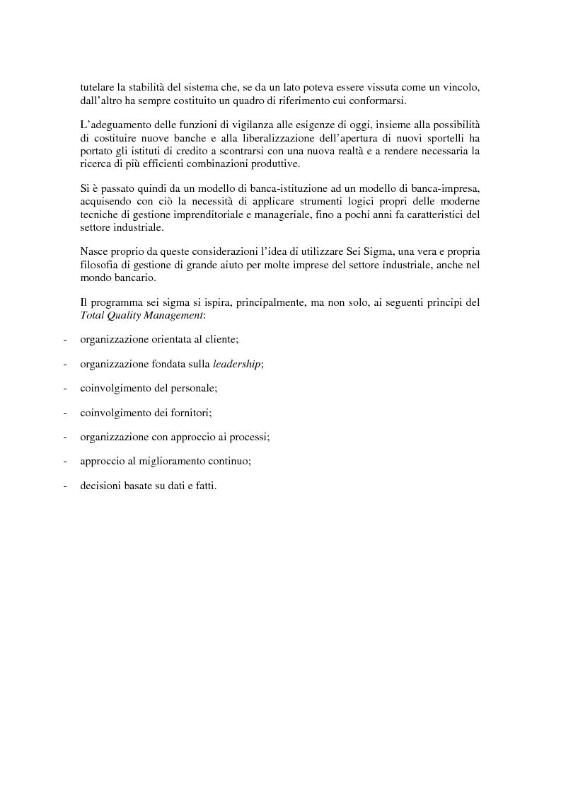 Anteprima della tesi: Un'applicazione delle tecniche del sei sigma in ambito bancario: l'impatto della localizzazione e della dimensione sulla performance delle filiali di Banca Intesa, Pagina 2