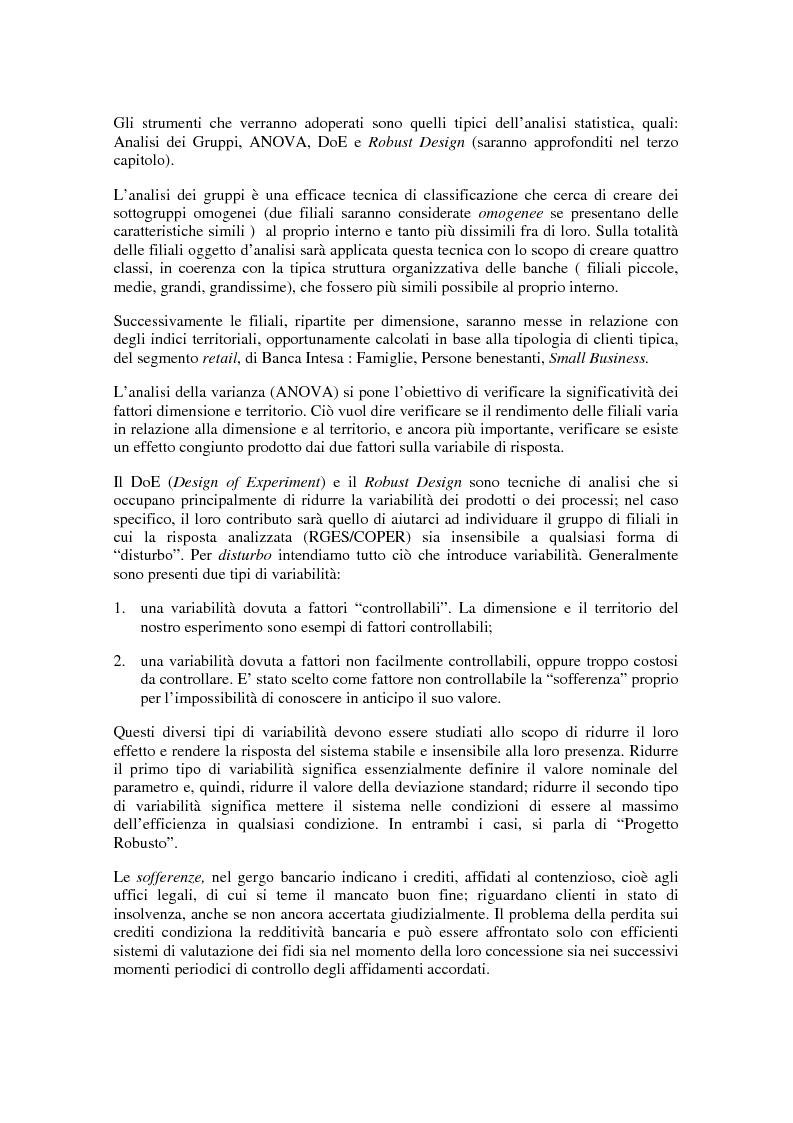 Anteprima della tesi: Un'applicazione delle tecniche del sei sigma in ambito bancario: l'impatto della localizzazione e della dimensione sulla performance delle filiali di Banca Intesa, Pagina 5