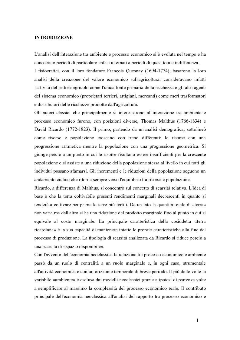 Anteprima della tesi: Teoria bioeconomica e curva di Kuznets ambientale: i flussi di materiale nell'economia statunitense, Pagina 1