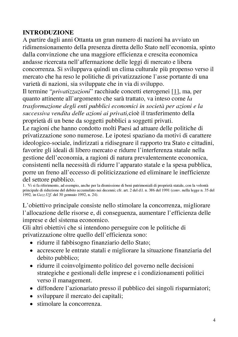 Anteprima della tesi: Le privatizzazioni in Italia. Il caso Enel, Pagina 1