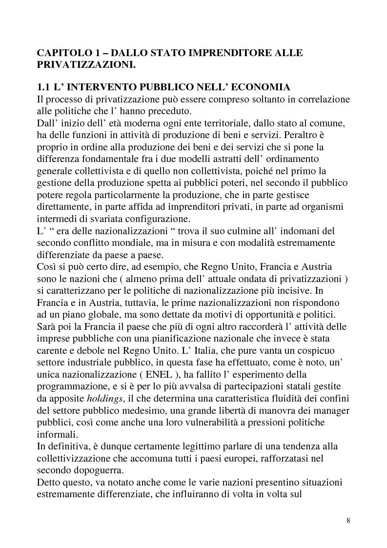 Anteprima della tesi: Le privatizzazioni in Italia. Il caso Enel, Pagina 5