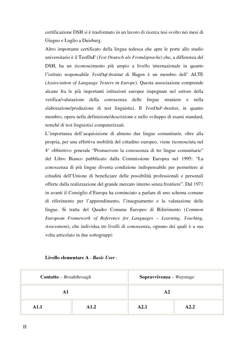 Anteprima della tesi: Das Renmin-Projekt der Universität Duisburg-Essen. Vergleich zwischen DSH und TestDaF, Pagina 2