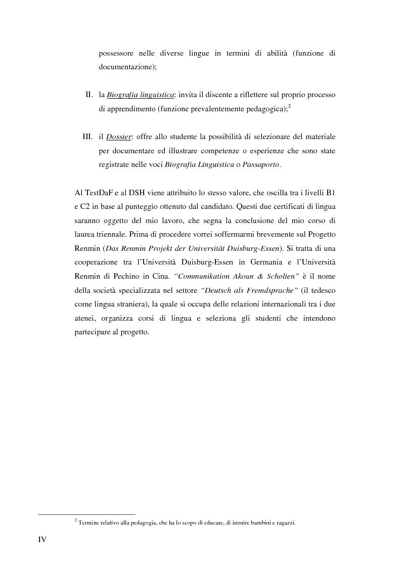 Anteprima della tesi: Das Renmin-Projekt der Universität Duisburg-Essen. Vergleich zwischen DSH und TestDaF, Pagina 4