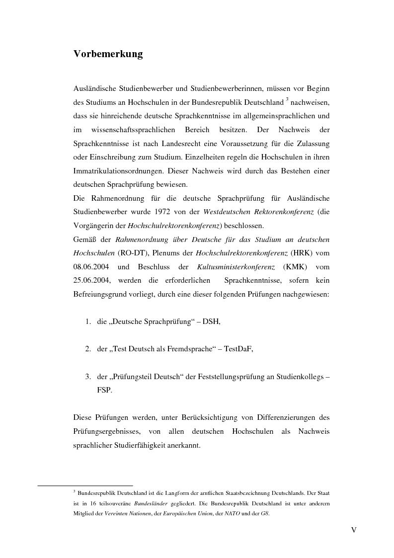 Anteprima della tesi: Das Renmin-Projekt der Universität Duisburg-Essen. Vergleich zwischen DSH und TestDaF, Pagina 5