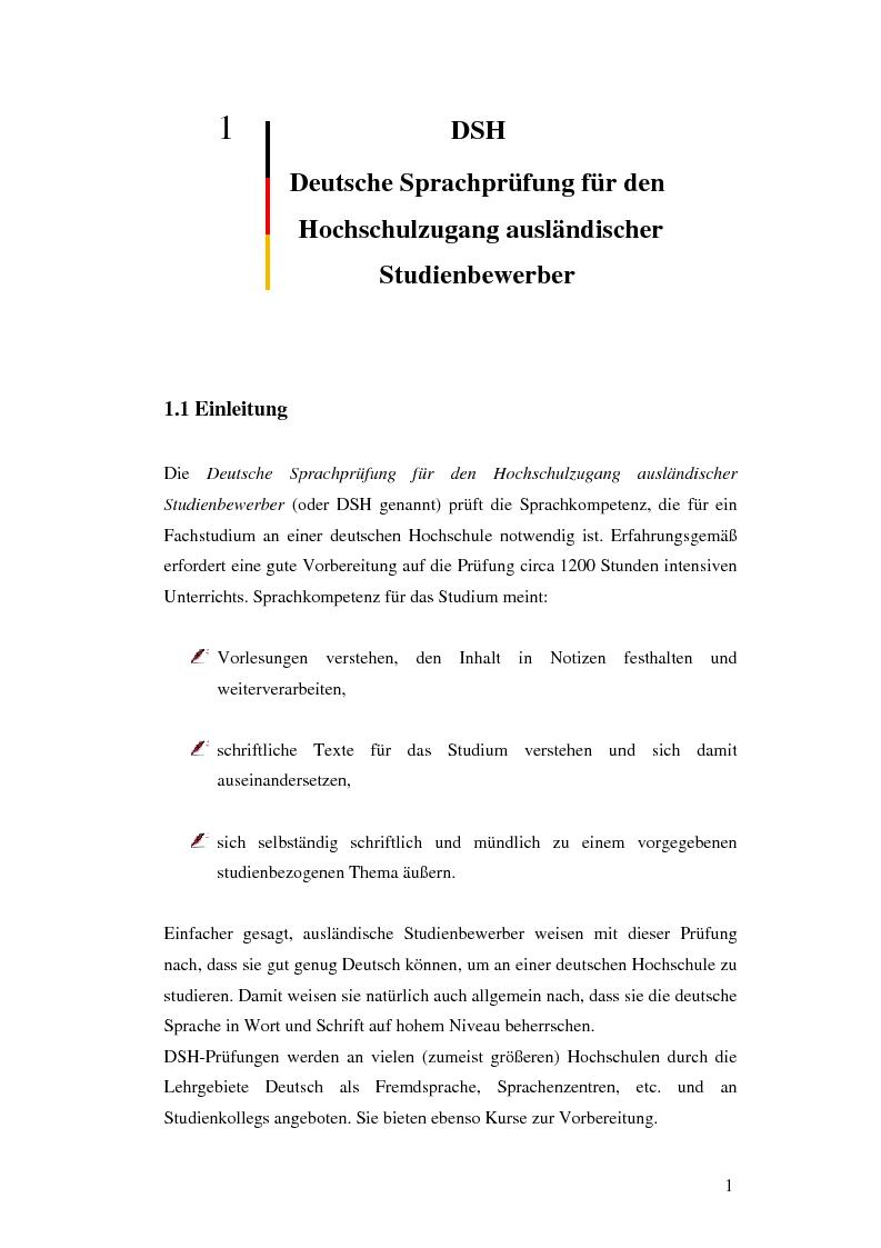 Anteprima della tesi: Das Renmin-Projekt der Universität Duisburg-Essen. Vergleich zwischen DSH und TestDaF, Pagina 8