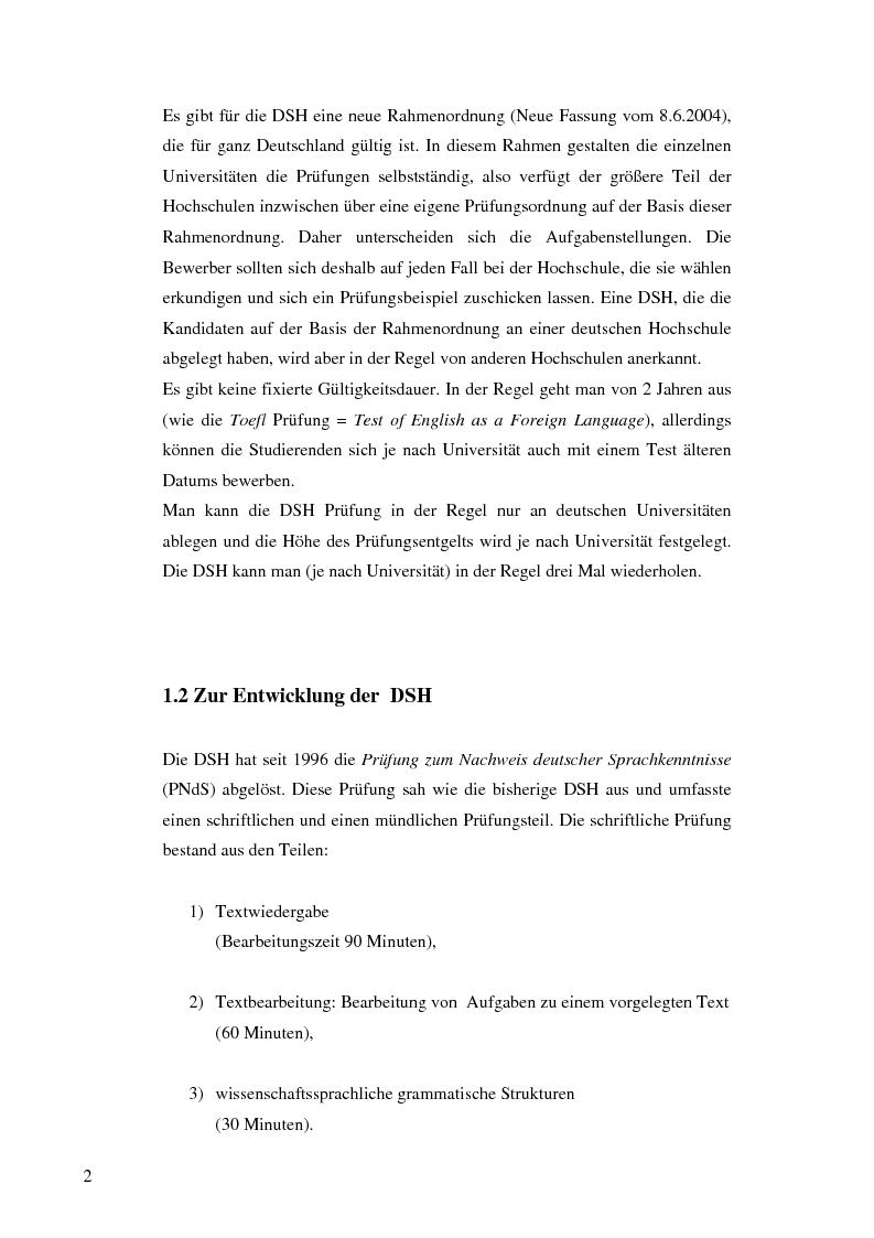 Anteprima della tesi: Das Renmin-Projekt der Universität Duisburg-Essen. Vergleich zwischen DSH und TestDaF, Pagina 9