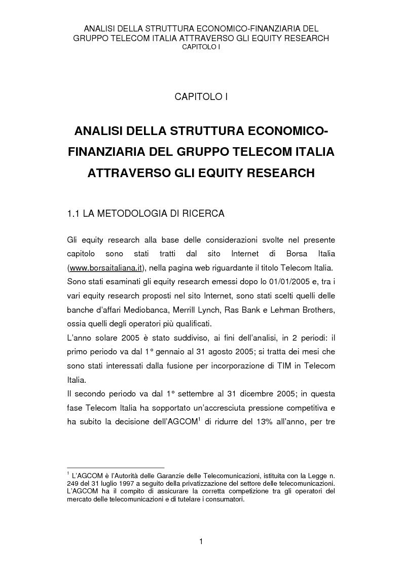 Anteprima della tesi: La struttura economico-finanziaria del gruppo Telecom Italia: un'analisi della comunicazione economico-finanziaria, Pagina 1
