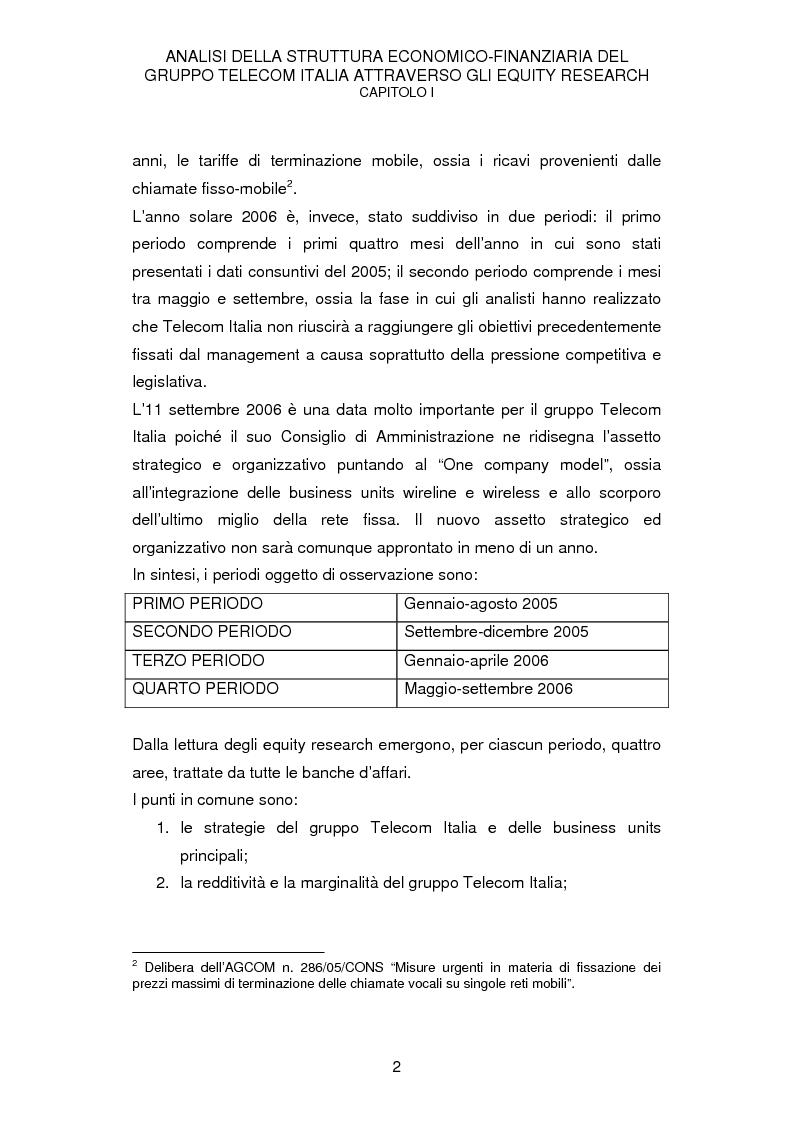 Anteprima della tesi: La struttura economico-finanziaria del gruppo Telecom Italia: un'analisi della comunicazione economico-finanziaria, Pagina 2