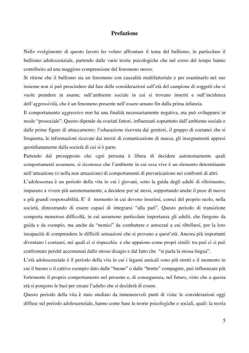 Anteprima della tesi: Il bullismo adolescenziale. Uno studio condotto nel sulcis iglesiente, Pagina 1