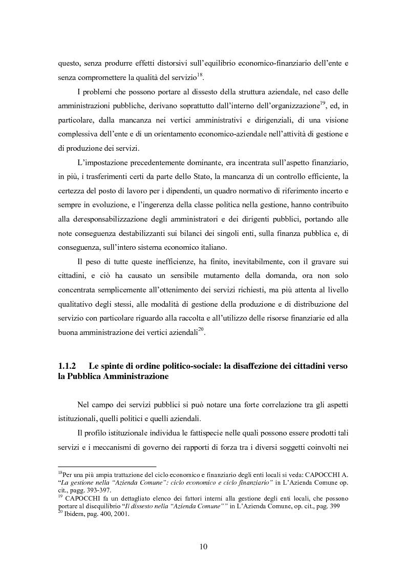 Anteprima della tesi: La certificazione di qualità negli Enti Locali: l'esperienza d'avanguardia della Provincia di Ferrara, Pagina 11