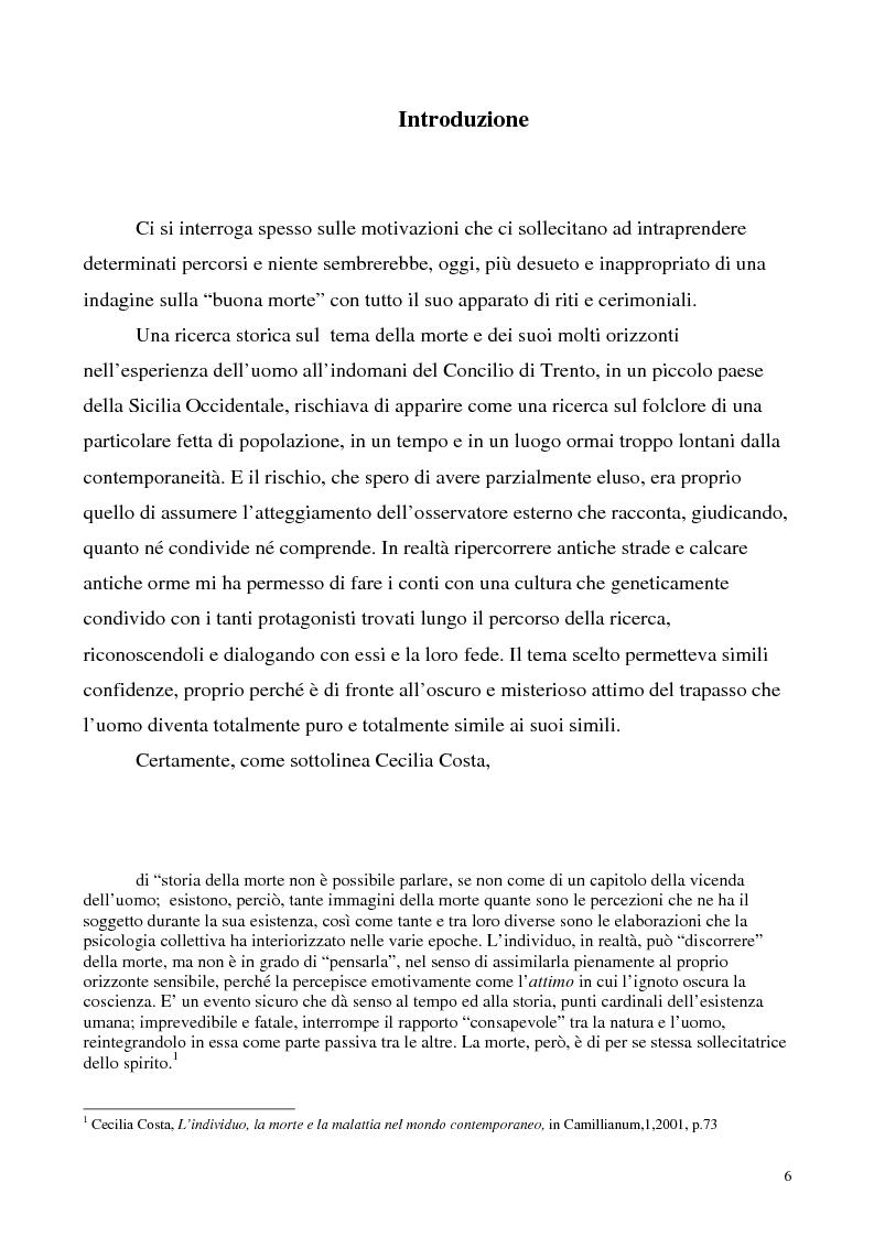 Anteprima della tesi: La luce nella tomba. Fede, ideologie e strategie di fronte alla morte nella Castelvetrano di sec. XVI e XVII, Pagina 1