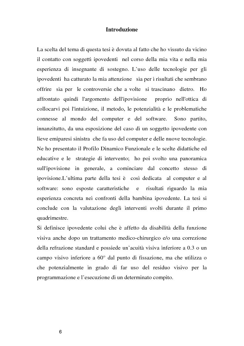 Anteprima della tesi: Tecnologie per un alunno ipovedente nella scuola dell'obbligo, Pagina 1