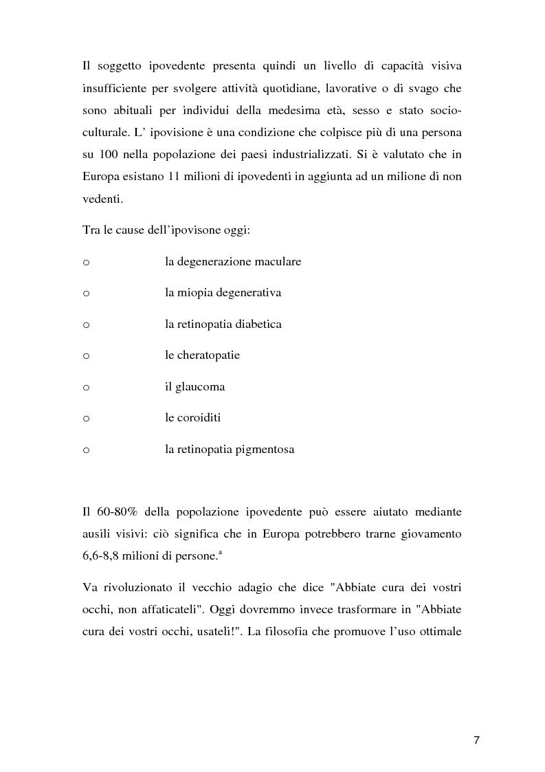 Anteprima della tesi: Tecnologie per un alunno ipovedente nella scuola dell'obbligo, Pagina 2