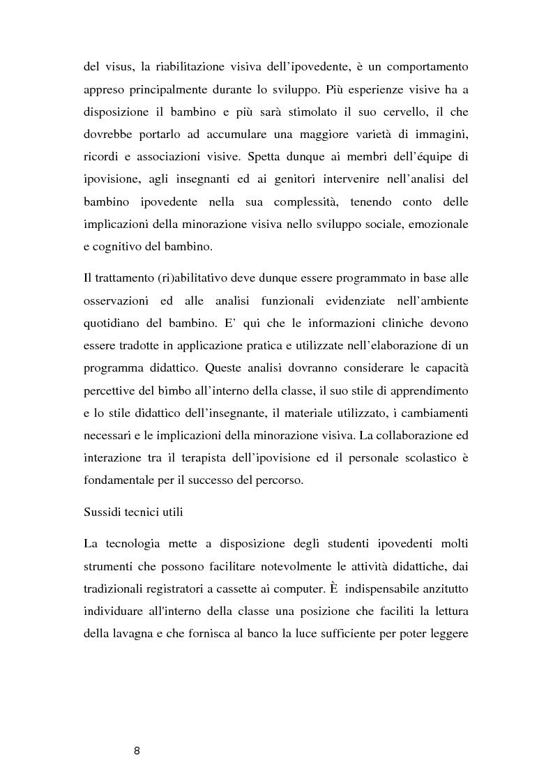 Anteprima della tesi: Tecnologie per un alunno ipovedente nella scuola dell'obbligo, Pagina 3