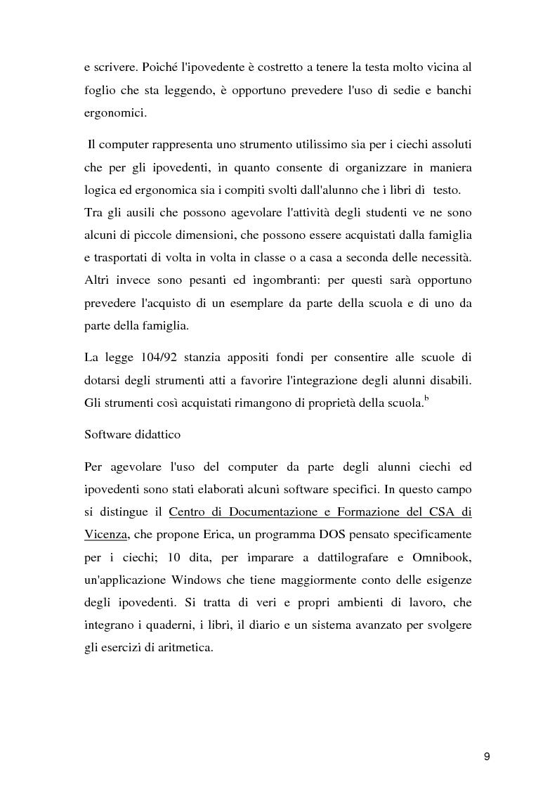 Anteprima della tesi: Tecnologie per un alunno ipovedente nella scuola dell'obbligo, Pagina 4