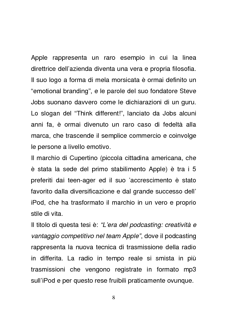 Anteprima della tesi: L'era del podcasting: creatività e vantaggio competitivo nel team Apple, Pagina 5