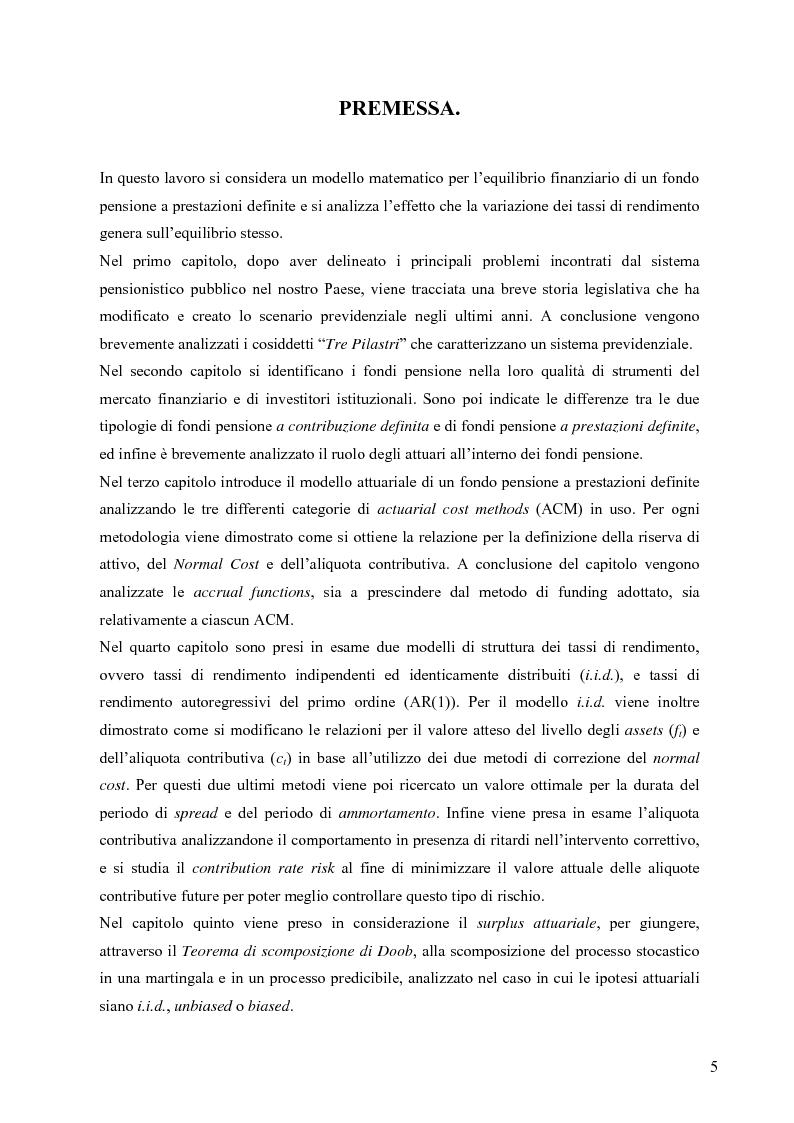 Anteprima della tesi: Effetti della variazione dei tassi di rendimento sull'equilibrio finanziario di un fondo pensione a prestazioni definite, Pagina 1
