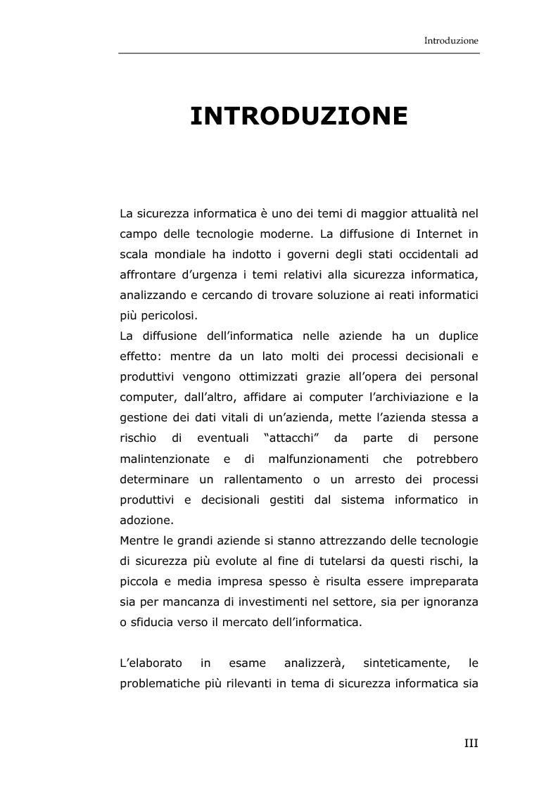 Anteprima della tesi: La sicurezza informatica in applicazioni direzionali: una soluzione per la gestione sicura dei dati nella piccola e media impresa, Pagina 1