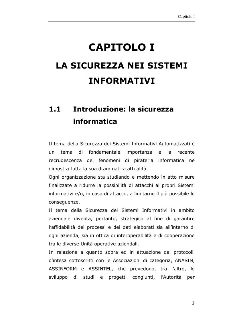 Anteprima della tesi: La sicurezza informatica in applicazioni direzionali: una soluzione per la gestione sicura dei dati nella piccola e media impresa, Pagina 7