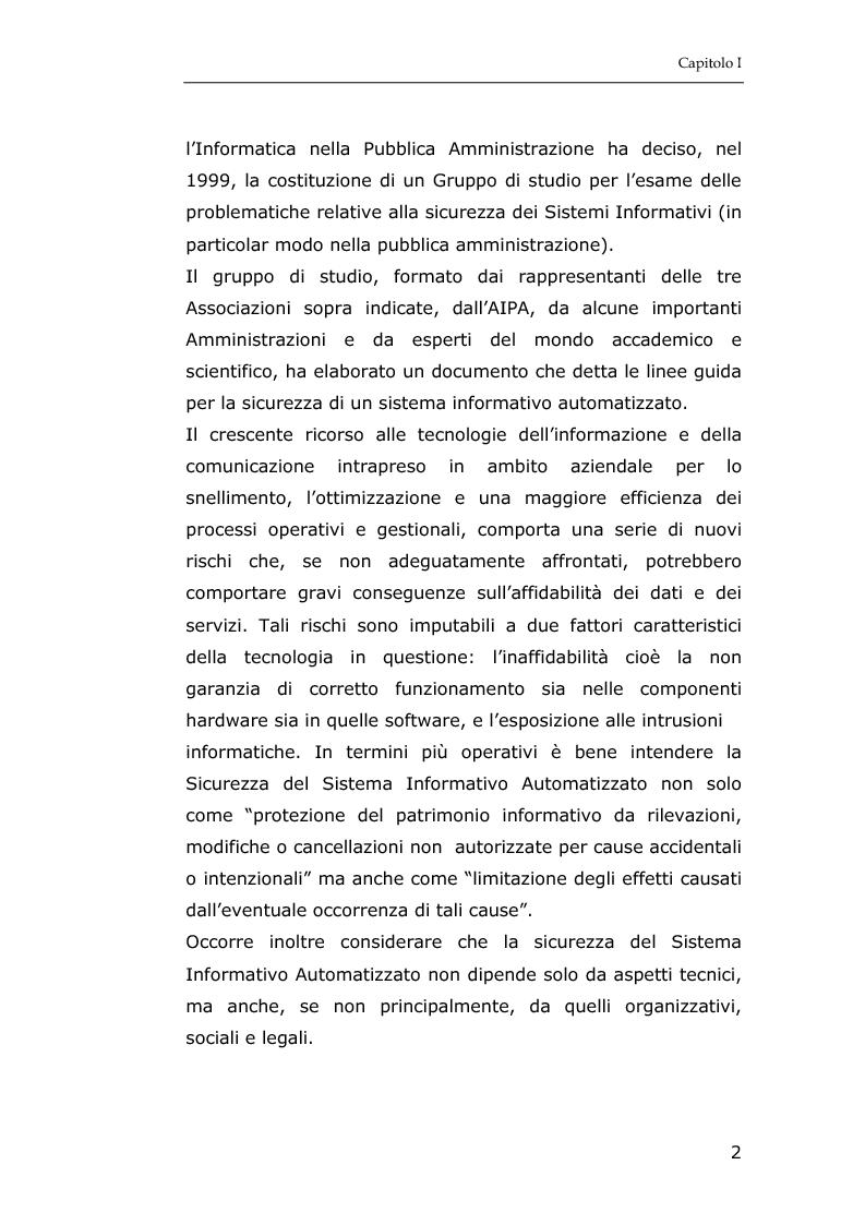 Anteprima della tesi: La sicurezza informatica in applicazioni direzionali: una soluzione per la gestione sicura dei dati nella piccola e media impresa, Pagina 8