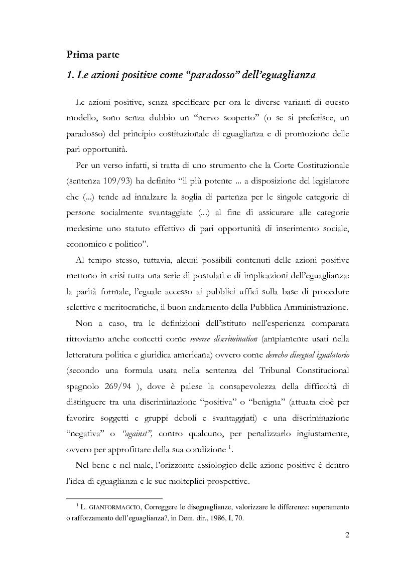 """Anteprima della tesi: Azioni positive e rappresentanza politica: il problema delle """"quote rosa"""", Pagina 2"""