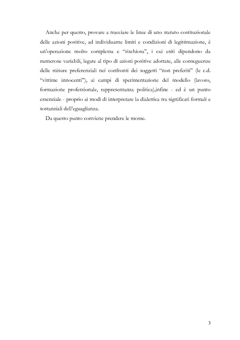"""Anteprima della tesi: Azioni positive e rappresentanza politica: il problema delle """"quote rosa"""", Pagina 3"""