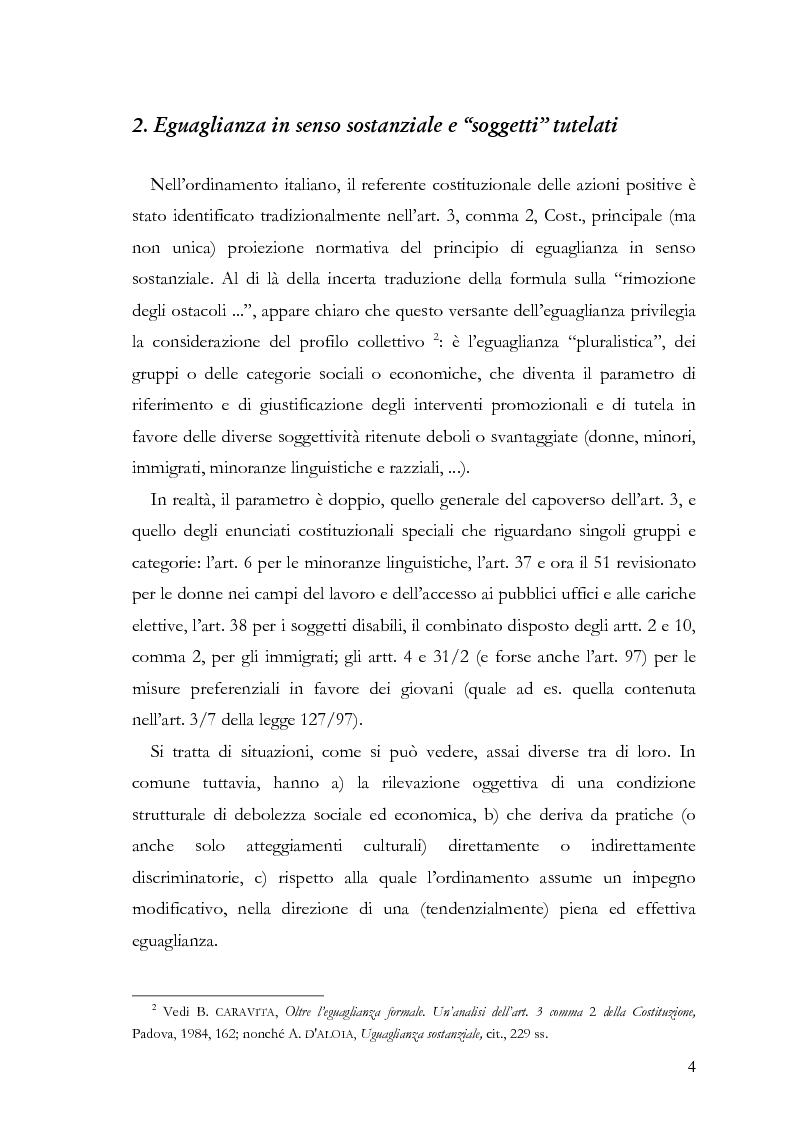 """Anteprima della tesi: Azioni positive e rappresentanza politica: il problema delle """"quote rosa"""", Pagina 4"""
