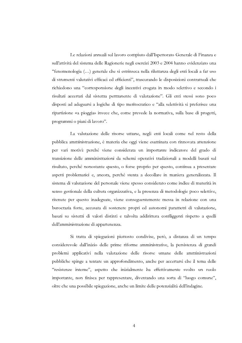 Anteprima della tesi: La valutazione delle risorse umane negli enti locali: il caso del Comune di Siena, Pagina 4