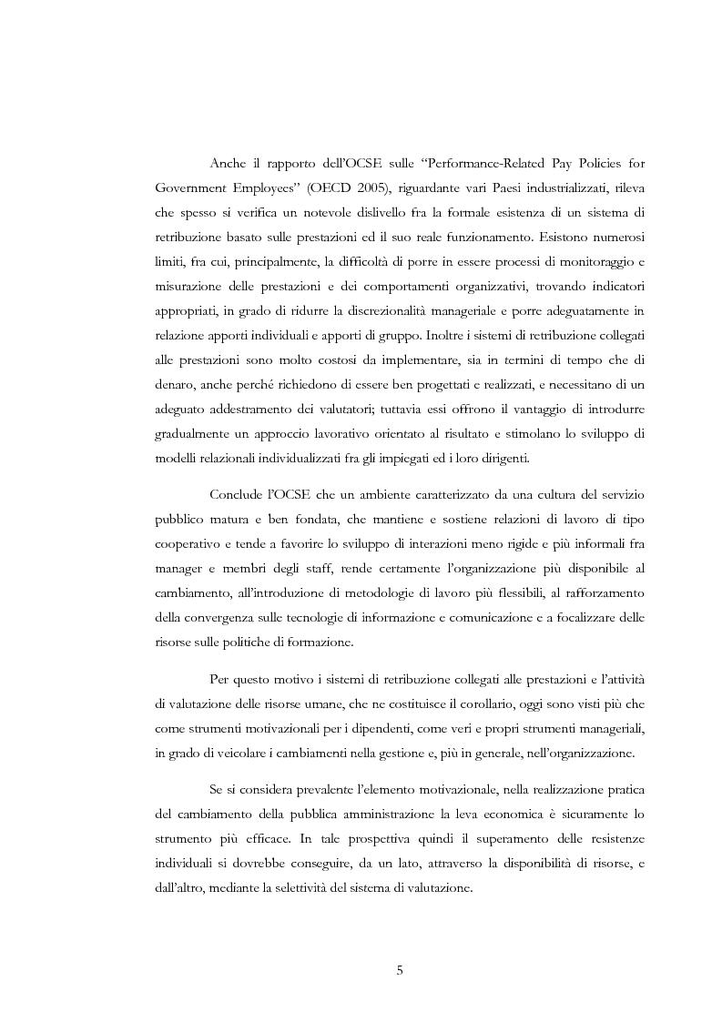 Anteprima della tesi: La valutazione delle risorse umane negli enti locali: il caso del Comune di Siena, Pagina 5