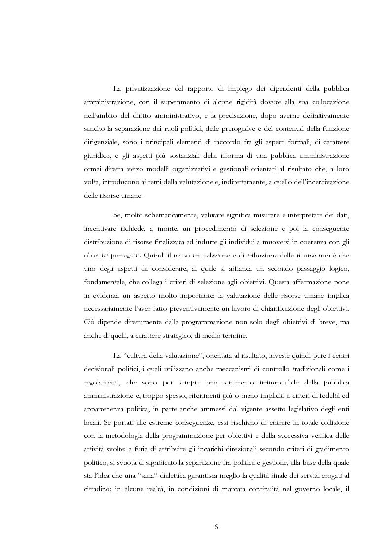 Anteprima della tesi: La valutazione delle risorse umane negli enti locali: il caso del Comune di Siena, Pagina 6
