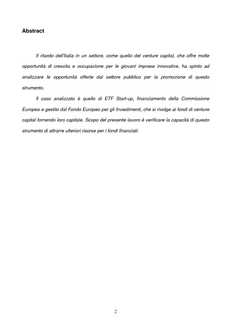 Anteprima della tesi: Il ruolo della Commissione Europea nell'attrazione di capitali sul territorio nazionale tramite strumenti finanziari innovativi: il Venture Capital e il caso di ETF Start-up, Pagina 2