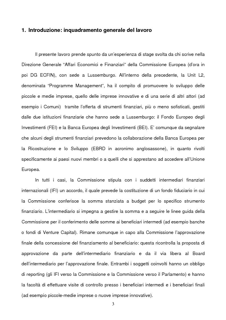 Anteprima della tesi: Il ruolo della Commissione Europea nell'attrazione di capitali sul territorio nazionale tramite strumenti finanziari innovativi: il Venture Capital e il caso di ETF Start-up, Pagina 3