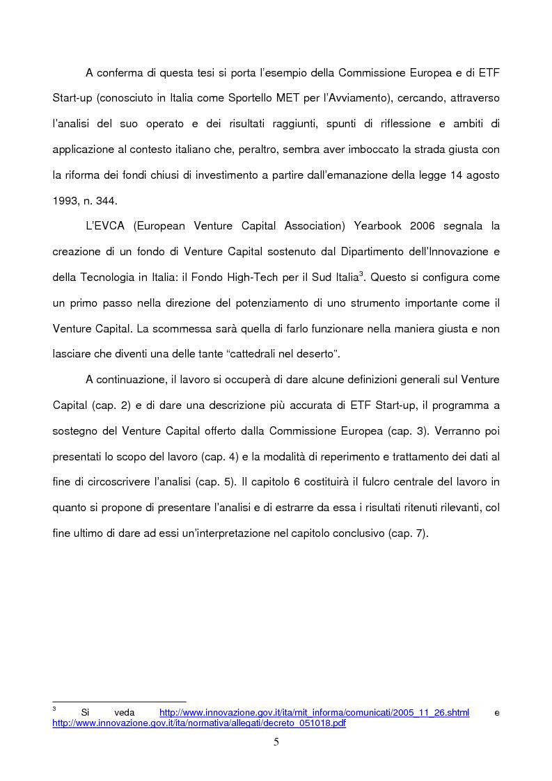 Anteprima della tesi: Il ruolo della Commissione Europea nell'attrazione di capitali sul territorio nazionale tramite strumenti finanziari innovativi: il Venture Capital e il caso di ETF Start-up, Pagina 5