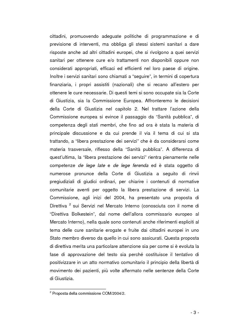 Anteprima della tesi: La libera circolazione dei pazienti nell'Unione Europea, Pagina 2