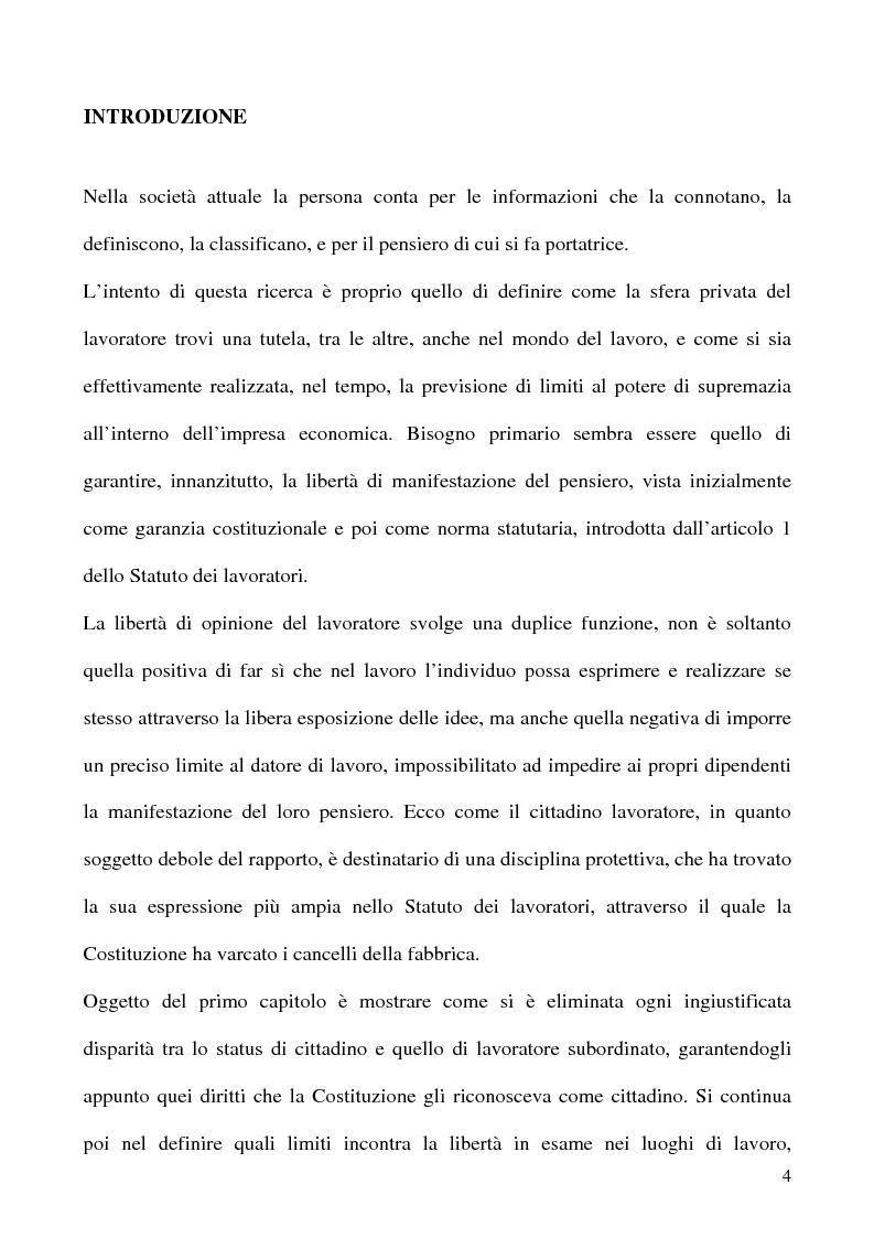 Anteprima della tesi: Libertà di opinione del lavoratore, Pagina 1
