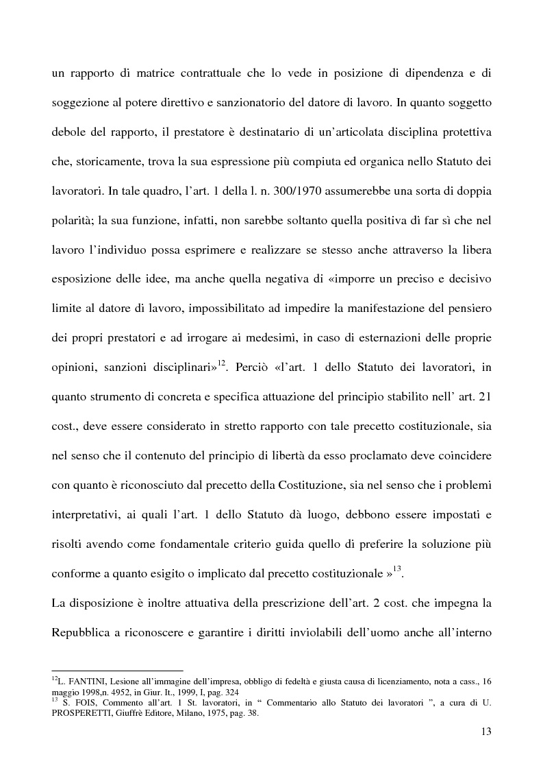 Anteprima della tesi: Libertà di opinione del lavoratore, Pagina 10